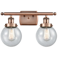 Innovations Lighting 916-2W-AC-G204-6-LED Beacon LED 16 inch Antique Copper Bath Vanity Light Wall Light