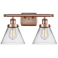 Innovations Lighting 916-2W-AC-G42-LED Large Cone LED 16 inch Antique Copper Bath Vanity Light Wall Light