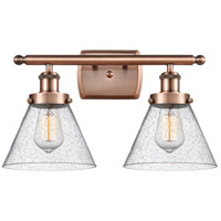 Innovations Lighting 916-2W-AC-G44-LED Large Cone LED 16 inch Antique Copper Bath Vanity Light Wall Light