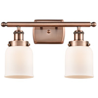 Innovations Lighting 916-2W-AC-G51-LED Small Bell LED 16 inch Antique Copper Bath Vanity Light Wall Light