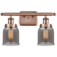 Innovations Lighting 916-2W-AC-G53-LED Small Bell LED 16 inch Antique Copper Bath Vanity Light Wall Light