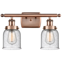 Innovations Lighting 916-2W-AC-G54-LED Small Bell LED 16 inch Antique Copper Bath Vanity Light Wall Light