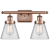 Innovations Lighting 916-2W-AC-G62-LED Small Cone LED 16 inch Antique Copper Bath Vanity Light Wall Light