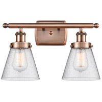 Innovations Lighting 916-2W-AC-G64-LED Small Cone LED 16 inch Antique Copper Bath Vanity Light Wall Light