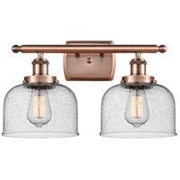 Innovations Lighting 916-2W-AC-G74-LED Large Bell LED 16 inch Antique Copper Bath Vanity Light Wall Light
