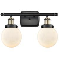 Innovations Lighting 916-2W-BAB-G201-6 Beacon 2 Light 16 inch Black Antique Brass Bath Vanity Light Wall Light