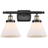 Innovations Lighting 916-2W-BAB-G41 Large Cone 2 Light 16 inch Black Antique Brass Bath Vanity Light Wall Light