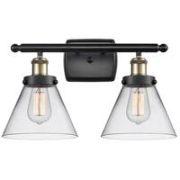 Innovations Lighting 916-2W-BAB-G42-LED Large Cone LED 16 inch Black Antique Brass Bath Vanity Light Wall Light