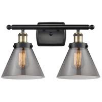 Innovations Lighting 916-2W-BAB-G43 Large Cone 2 Light 16 inch Black Antique Brass Bath Vanity Light Wall Light