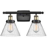 Innovations Lighting 916-2W-BAB-G44 Large Cone 2 Light 16 inch Black Antique Brass Bath Vanity Light Wall Light