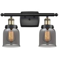 Innovations Lighting 916-2W-BAB-G53-LED Small Bell LED 16 inch Black Antique Brass Bath Vanity Light Wall Light