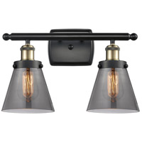 Innovations Lighting 916-2W-BAB-G63-LED Small Cone LED 16 inch Black Antique Brass Bath Vanity Light Wall Light