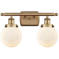 Innovations Lighting 916-2W-BB-G201-6-LED Beacon LED 16 inch Brushed Brass Bath Vanity Light Wall Light