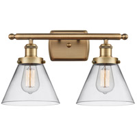 Innovations Lighting 916-2W-BB-G42-LED Large Cone LED 16 inch Brushed Brass Bath Vanity Light Wall Light