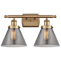 Innovations Lighting 916-2W-BB-G43 Large Cone 2 Light 16 inch Brushed Brass Bath Vanity Light Wall Light