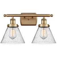 Innovations Lighting 916-2W-BB-G44-LED Large Cone LED 16 inch Brushed Brass Bath Vanity Light Wall Light