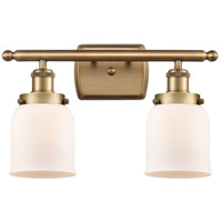 Innovations Lighting 916-2W-BB-G51-LED Small Bell LED 16 inch Brushed Brass Bath Vanity Light Wall Light