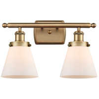 Innovations Lighting 916-2W-BB-G61 Small Cone 2 Light 16 inch Brushed Brass Bath Vanity Light Wall Light
