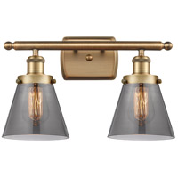 Innovations Lighting 916-2W-BB-G63-LED Small Cone LED 16 inch Brushed Brass Bath Vanity Light Wall Light