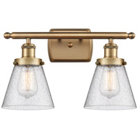 Innovations Lighting 916-2W-BB-G64-LED Small Cone LED 16 inch Brushed Brass Bath Vanity Light Wall Light