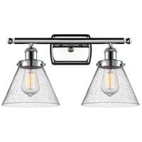 Innovations Lighting 916-2W-PC-G44-LED Large Cone LED 16 inch Polished Chrome Bath Vanity Light Wall Light, Ballston