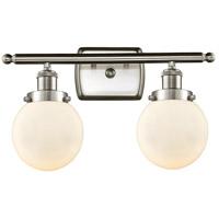 Innovations Lighting 916-2W-SN-G201-6-LED Beacon LED 16 inch Satin Nickel Bath Vanity Light Wall Light Ballston