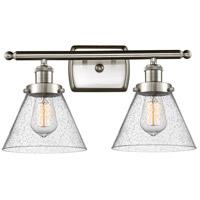 Innovations Lighting 916-2W-SN-G44 Large Cone 2 Light 16 inch Satin Nickel Bath Vanity Light Wall Light Ballston