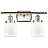 Innovations Lighting 916-2W-SN-G51-LED Small Bell LED 16 inch Satin Nickel Bath Vanity Light Wall Light Ballston