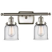 Innovations Lighting 916-2W-SN-G52-LED Small Bell LED 16 inch Satin Nickel Bath Vanity Light Wall Light Ballston