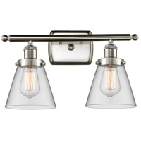 Innovations Lighting 916-2W-SN-G62-LED Small Cone LED 16 inch Satin Nickel Bath Vanity Light Wall Light Ballston