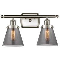 Innovations Lighting 916-2W-SN-G63 Small Cone 2 Light 16 inch Satin Nickel Bath Vanity Light Wall Light Ballston