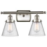 Innovations Lighting 916-2W-SN-G64-LED Small Cone LED 16 inch Satin Nickel Bath Vanity Light Wall Light Ballston