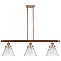 Innovations Lighting 916-3I-AC-G42-LED Large Cone LED 36 inch Antique Copper Island Light Ceiling Light