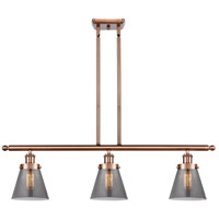 Innovations Lighting 916-3I-AC-G63 Small Cone 3 Light 36 inch Antique Copper Island Light Ceiling Light