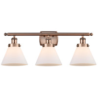 Innovations Lighting 916-3W-AC-G41-LED Large Cone LED 26 inch Antique Copper Bath Vanity Light Wall Light