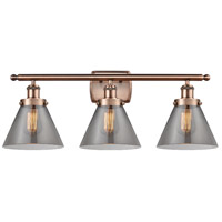 Innovations Lighting 916-3W-AC-G43-LED Large Cone LED 26 inch Antique Copper Bath Vanity Light Wall Light