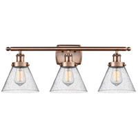 Innovations Lighting 916-3W-AC-G44-LED Large Cone LED 26 inch Antique Copper Bath Vanity Light Wall Light
