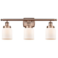 Innovations Lighting 916-3W-AC-G51-LED Small Bell LED 26 inch Antique Copper Bath Vanity Light Wall Light