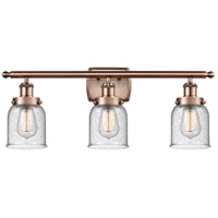 Innovations Lighting 916-3W-AC-G54-LED Small Bell LED 26 inch Antique Copper Bath Vanity Light Wall Light