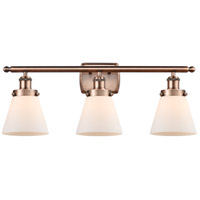 Innovations Lighting 916-3W-AC-G61-LED Small Cone LED 26 inch Antique Copper Bath Vanity Light Wall Light