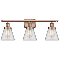 Innovations Lighting 916-3W-AC-G62-LED Small Cone LED 26 inch Antique Copper Bath Vanity Light Wall Light