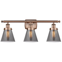 Innovations Lighting 916-3W-AC-G63-LED Small Cone LED 26 inch Antique Copper Bath Vanity Light Wall Light