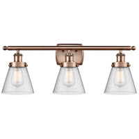 Innovations Lighting 916-3W-AC-G64-LED Small Cone LED 26 inch Antique Copper Bath Vanity Light Wall Light