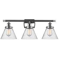 Innovations Lighting 916-3W-PC-G44 Large Cone 3 Light 26 inch Polished Chrome Bath Vanity Light Wall Light, Ballston
