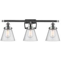 Innovations Lighting 916-3W-PC-G64 Small Cone 3 Light 26 inch Polished Chrome Bath Vanity Light Wall Light, Ballston