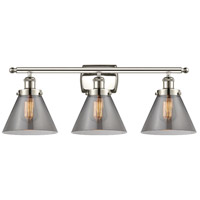 Innovations Lighting 916-3W-PN-G43 Large Cone 3 Light 26 inch Polished Nickel Bath Vanity Light Wall Light