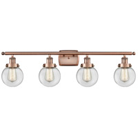 Innovations Lighting 916-4W-AC-G202-6-LED Beacon LED 36 inch Antique Copper Bath Vanity Light Wall Light