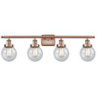 Innovations Lighting 916-4W-AC-G204-6-LED Beacon LED 36 inch Antique Copper Bath Vanity Light Wall Light