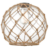 Innovations Lighting G122-10RB Large Farmhouse Rope Clear Large Farmhouse Glass with Brown Rope 10 inch Glass Ballston