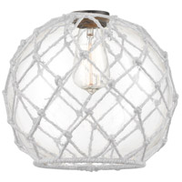 Innovations Lighting G122-10RW Large Farmhouse Rope Clear Large Farmhouse Glass with White Rope 10 inch Glass Ballston